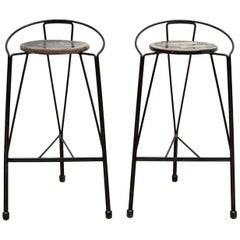 Pair of Wrought Iron Bar Stools, 1960s, Belgium