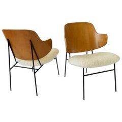 Pair of Wrought Iron Base Ib Kofod-Larsen Penguin Lounge Chairs