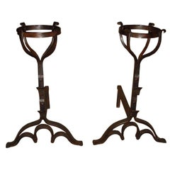 Pair of Wrought Iron Basket Top Andirons