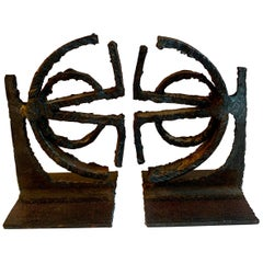 Pair of Wrought Iron Brutalist Bookends