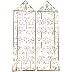 Pair of Wrought Iron C-Scrolled and S-Scrolled Gates