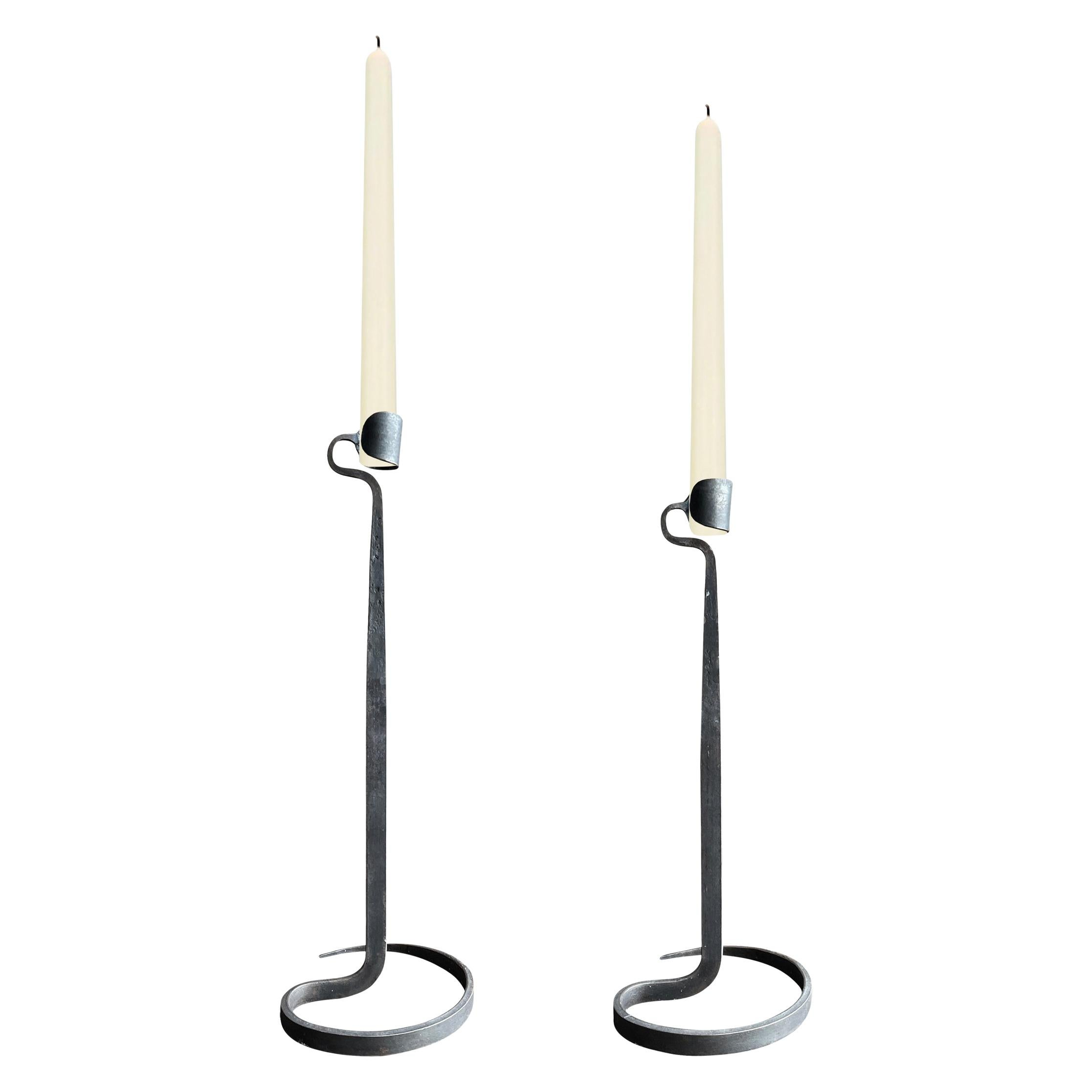 Pair of Wrought Iron Candlesticks