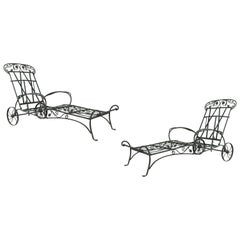 Pair of Wrought Iron Chaise Lounges by Salterini, circa 1950