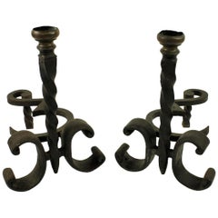 Pair of Wrought Iron Chenet, circa 1900