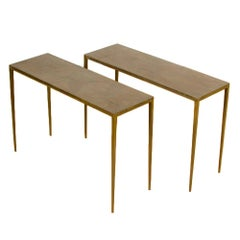 Pair of Wrought Iron Console Tables in the Manner of Jean-Michel Frank