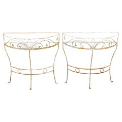 Pair of Wrought Iron Demi Lune Tables
