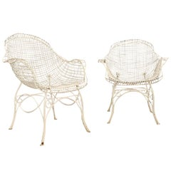 Pair of Wrought Iron Garden Armchairs Painted, 1950
