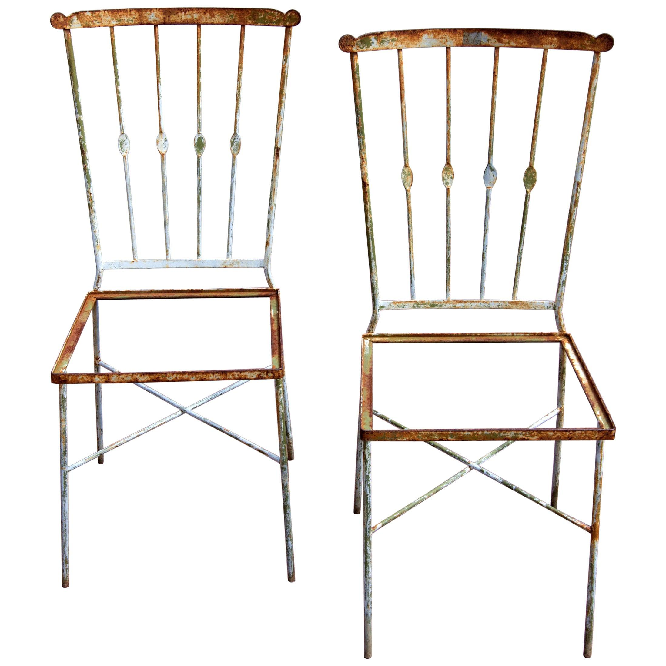 Pair of Wrought Iron Garden Chairs