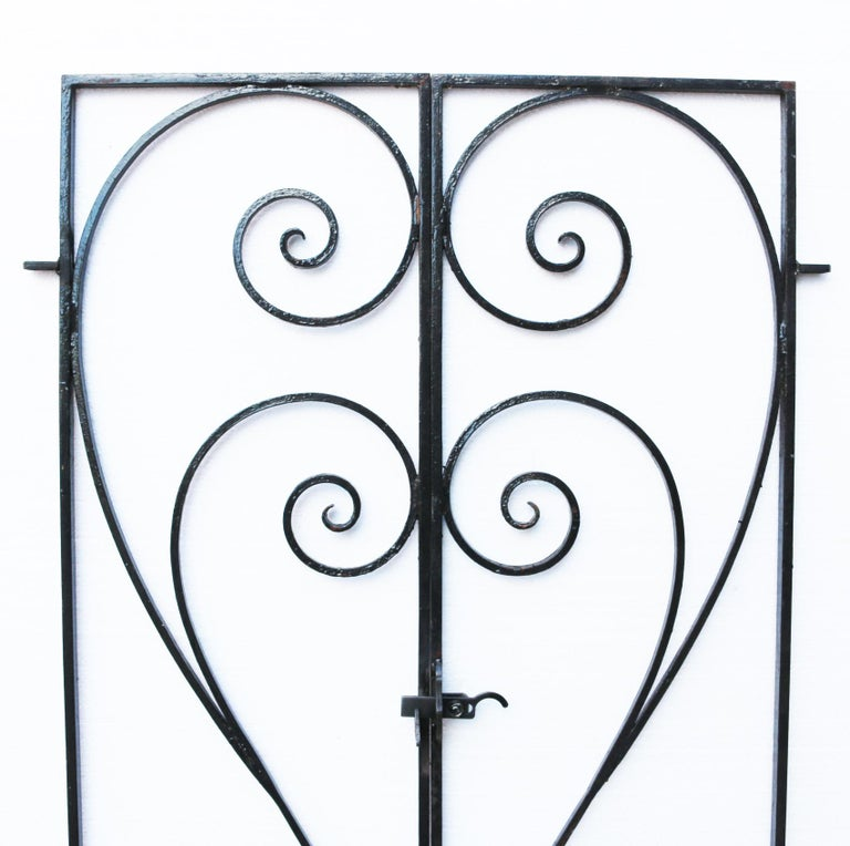 English Pair of Wrought Iron Garden Gates For Sale