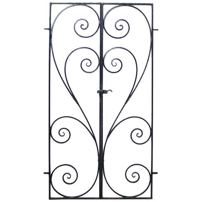 Pair of Wrought Iron Garden Gates For Sale