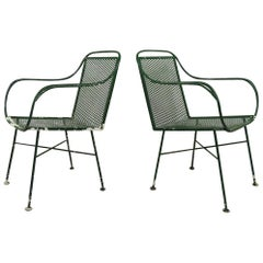 Pair of Wrought Iron Garden Patio Lounge Chairs by Salterini