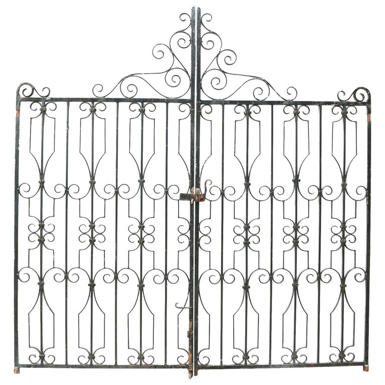 Pair of Wrought Iron Gates For Sale