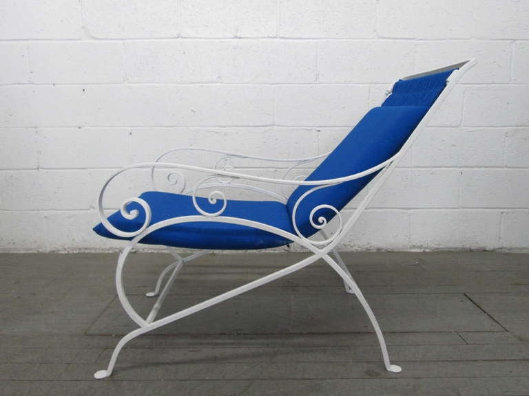 American Pair of Wrought Iron Lounge Chairs For Sale