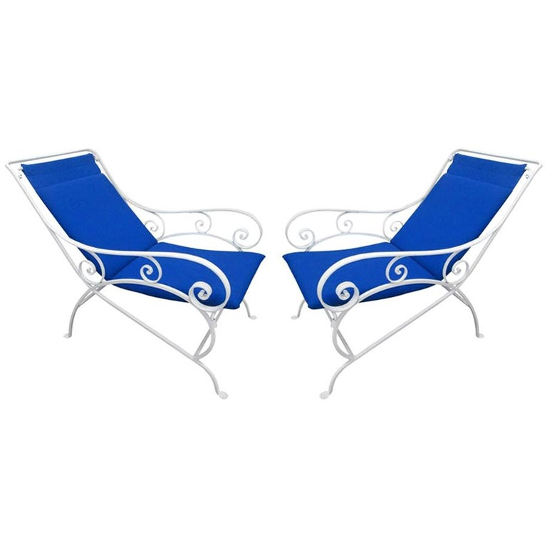 Pair of Wrought Iron Lounge Chairs For Sale