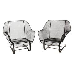 Pair of Wrought Iron Mesh Bouncer Chairs by Russel Woodard
