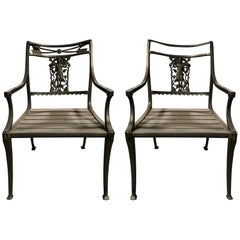 """Pair of Wrought Iron Neoclassical """"Diana the Huntress"""" Garden Chairs by Molla"""