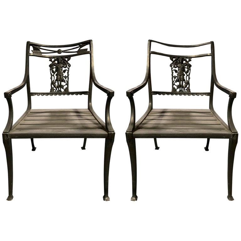 "Pair of Wrought Iron Neoclassical ""Diana the Huntress"" Garden Chairs by Molla"