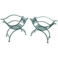 Pair of Wrought Iron Oak Leaf Motif Curule Benches, Provenance Celine Dion