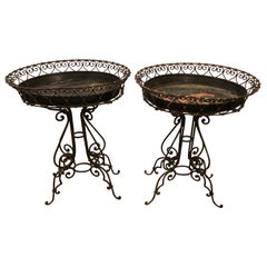 Pair of Wrought Iron Planter Tables with Original Inserts