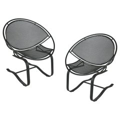 Pair of Wrought Iron Radar Lounge Chairs by Salterini, circa 1950