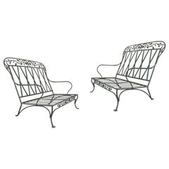 Pair of Wrought Iron Settees by Salterini, circa 1950