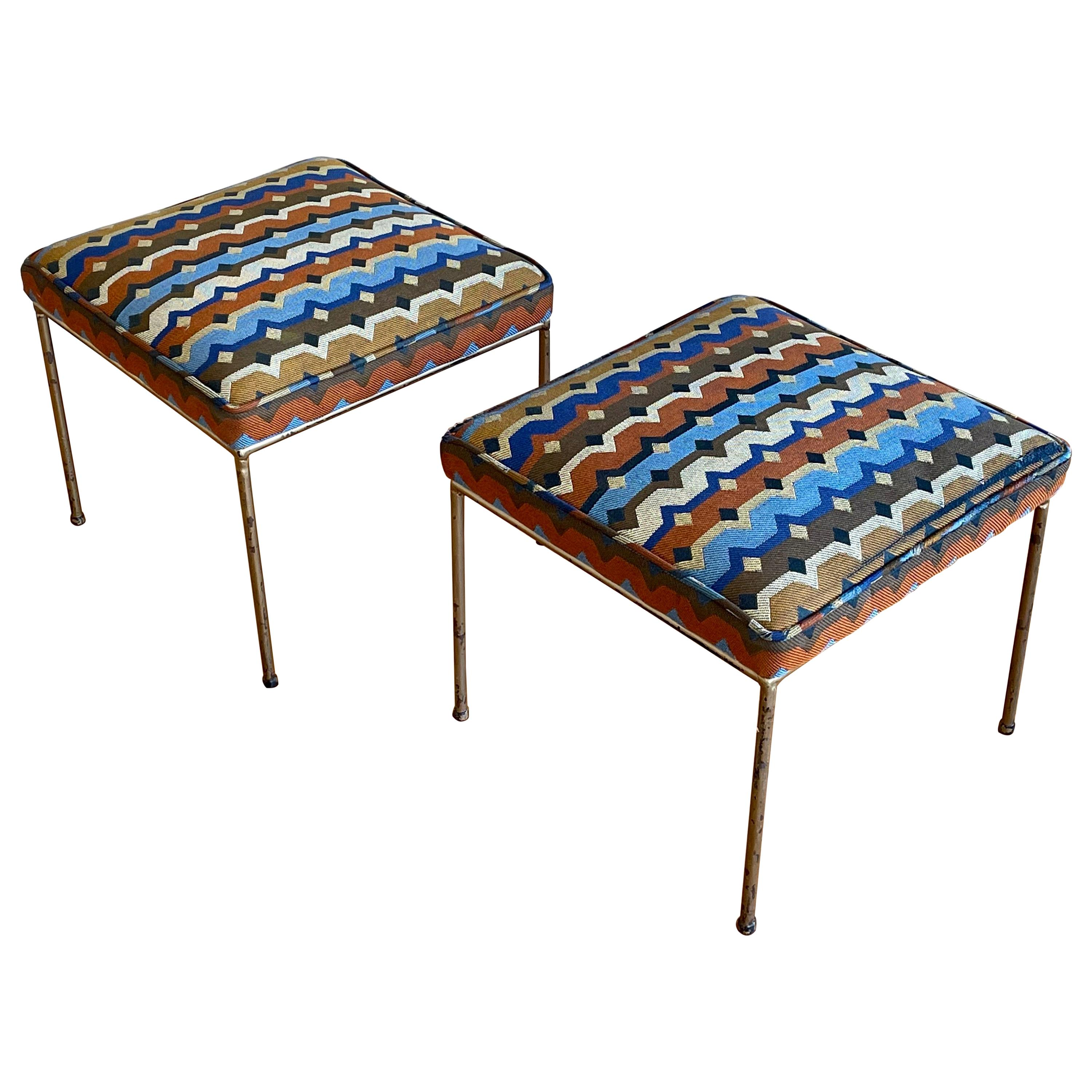 Pair of Wrought Iron Stools by Paul McCobb, US, 1950s