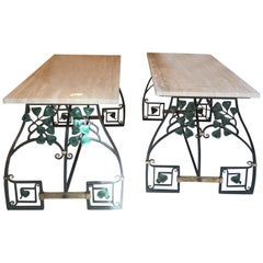 Pair of Wrought Iron Tables, Travertine Tray, 1920
