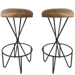 Pair of Wrought Iron Weinberg Barstools