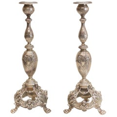Pair of W.W. Wattles & Sons Sterling Silver Sabbath Candlesticks in Cellini V50