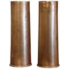 Pair of WW1 British Brass Artillery Shells Dated 1915