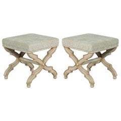 Pair of X Base French Country Style Stool Benches