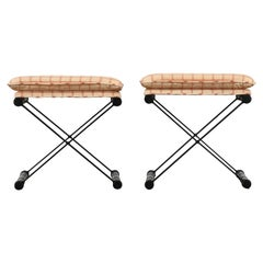 Pair of X-Benches in the Manner of Cleo Baldon, 1960s