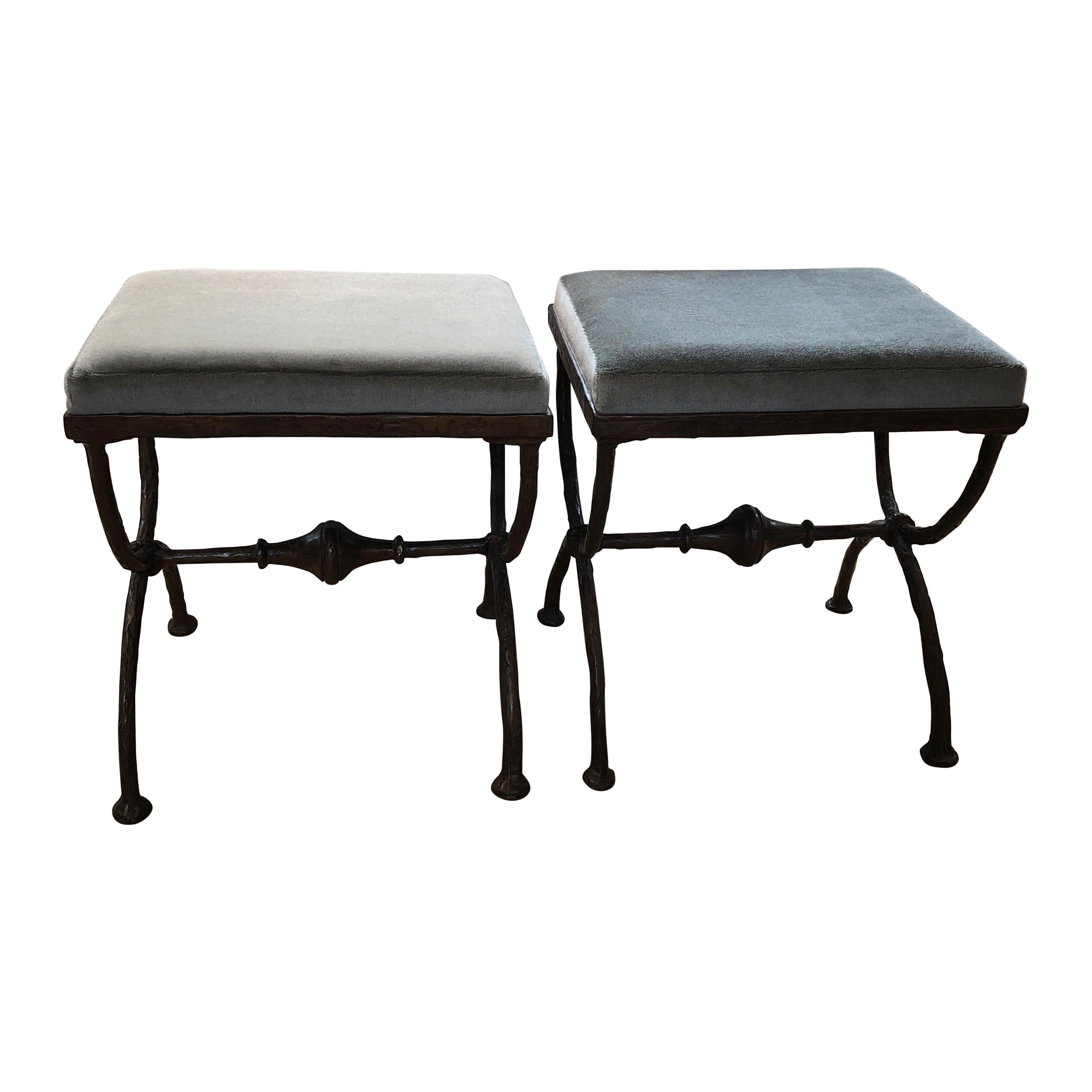 """Pair of """"X-Form"""" Ottoman or Stools, Mohair Upholstery, Style of Giacometti"""