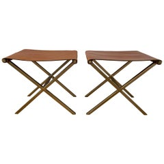 Pair of X Frame Benches in Leather and Gold Tone Metal