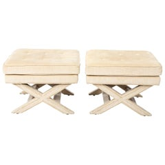 Pair of X-Frame Upholstered Benches