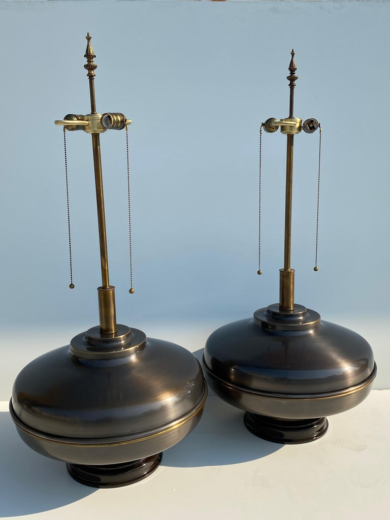 Hollywood Regency Pair of Extra Large Lamps in Antique Brass For Sale
