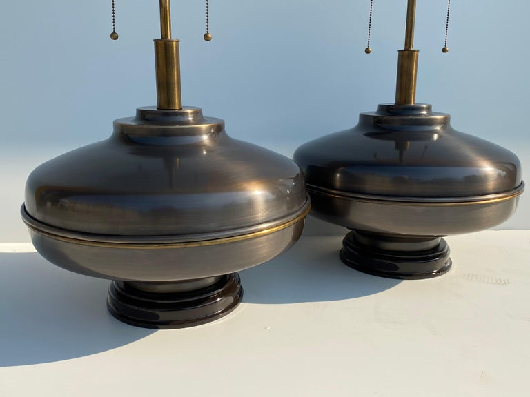 American Pair of Extra Large Lamps in Antique Brass For Sale