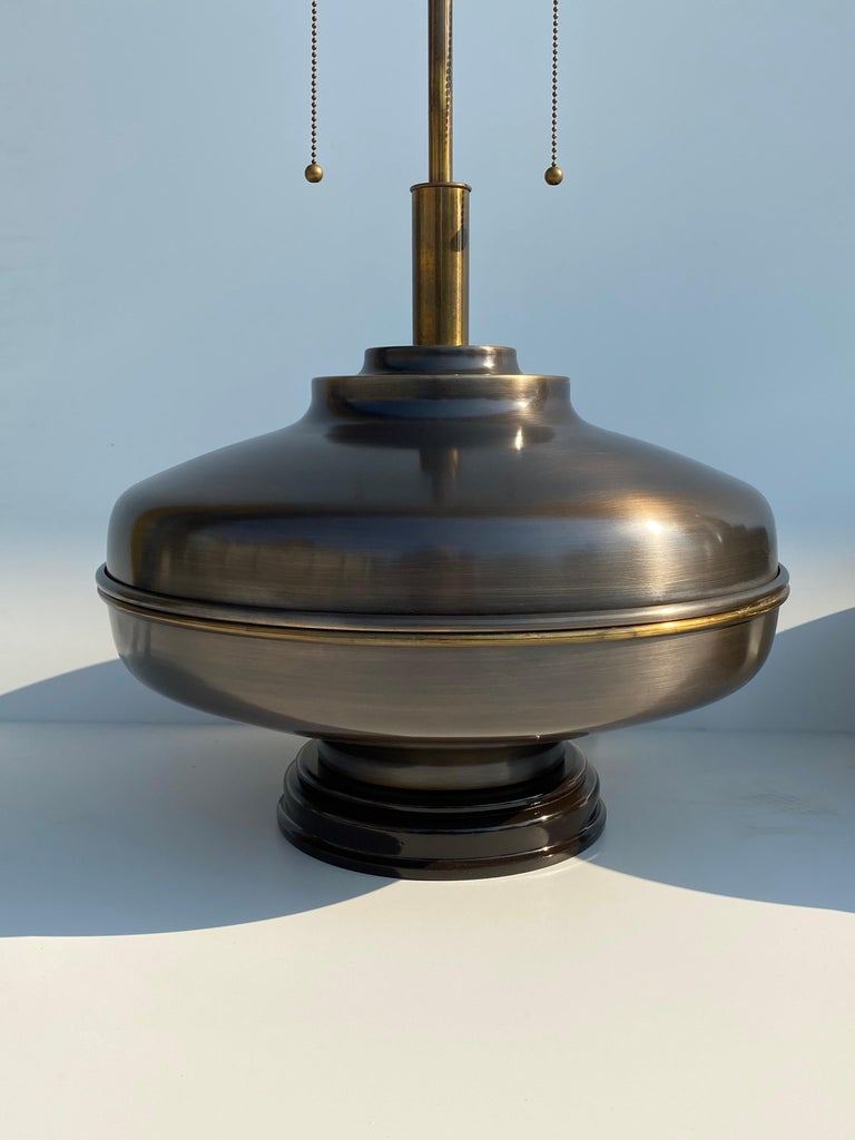 Patinated Pair of Extra Large Lamps in Antique Brass For Sale