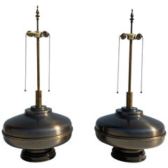 Pair of Extra Large Lamps in Antique Brass
