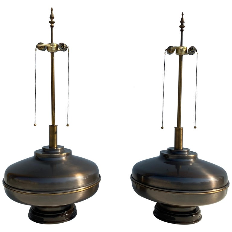 Pair of Extra Large Lamps in Antique Brass For Sale
