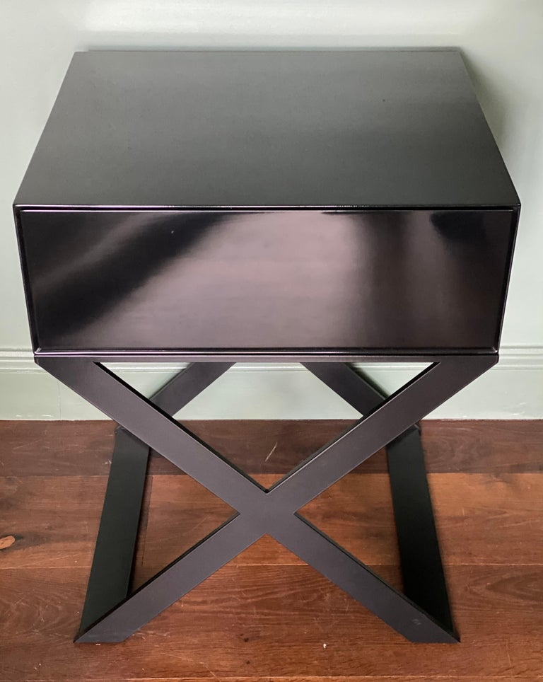 Pair of X-Leg Bedside Table in Black Lacquered and Black Steel Legs For Sale 4