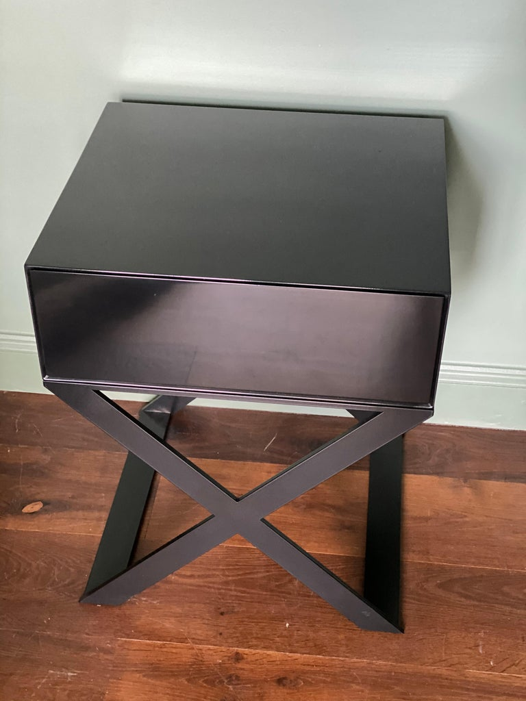 Pair of X-Leg Bedside Table in Black Lacquered and Black Steel Legs For Sale 7
