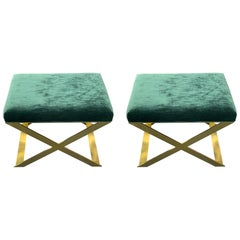 Pair of X-Leg Stool in Polished Brass and Teal Ribbed Velvet