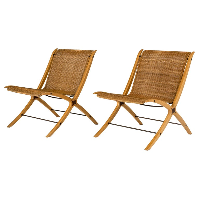 """Pair of """"X"""" lounge chairs by Peter Hvidt and Orla Møllgaard For Sale"""