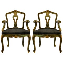Pair of 19th Century Venetian Painted and Gilded Armchairs