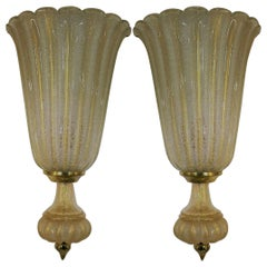 Pair of Extra Large Barovier & Toso Wall Lights with Label and Gold Powder