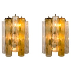 Pair of XL Wall Sconces/Wall Lights Murano Glass, Barovier & Toso