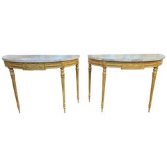 Amazing Louis XVI Style Carved Giltwood Demilune Consoles