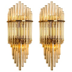 Pair of XXL Modern Glass Rod Waterfall Wall Sconces of Sciolari for Lightolier