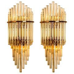 Pair of XXL Modern Glass Rod Waterfall Wall Sconces of Sciolari for Lightolier